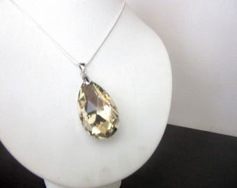 Large Faceted Faux Citrine Glass Pendant Necklace Silver 925 Snake Chain 16.5 - 18.5 Inches
