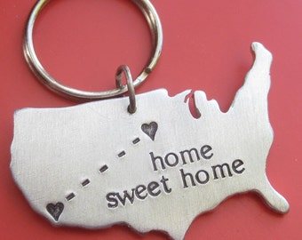 Custom Stamped Long Distance Relationship Love USA Map Personalized Keychain