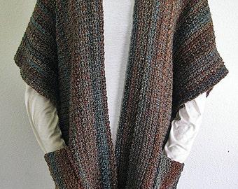 PDF Crochet Pattern- Indian Summer Ruana  (Wrap,  Shawl)