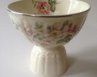 NOW REDUCED 40%!! Set of 4 Beautiful Antique Rose Floral Egg / Dessert Cups on Pedestals