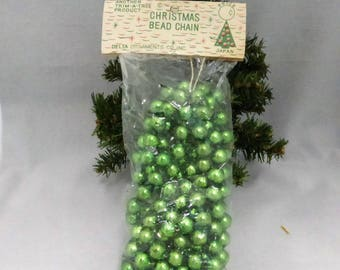 Vintage Mid-Century  12mm Green Mercury Glass Garland New in Package