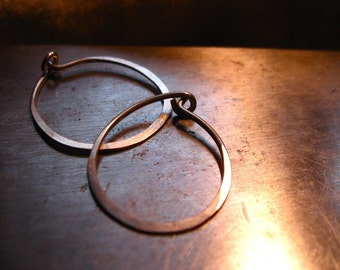 Recycled sterling silver simple hammered sterling hoops