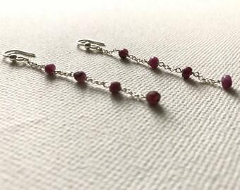 Long silver and ruby earrings. Silver. Ruby. Handmade.
