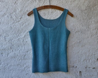 Grunge bodice top cyan blue womens earthy hippie shirts organic rock punk witchy chakra tank hand dyed alternative ethical raw festival eco