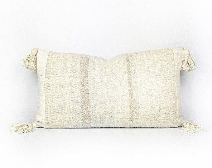 Vintage Linen Grain Sack With Pale Rose Pink Stripes And Tassels Lumbar Pillow Cover 14x24