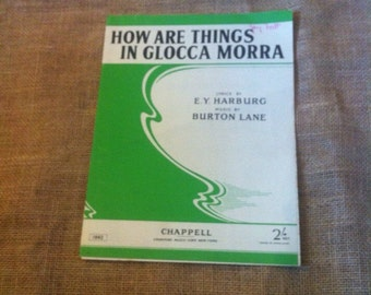 Vintage Sheet Music. Song. For Piano and Voice. How Are Things In Glocca Morra from Finnians Rainbow 1946. 1940s. 40s.