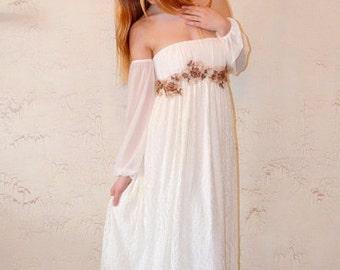 SALE Boho Wedding Dress, Hippie wedding dress, Alternative wedding, Ivory Wedding dress, Lace Wedding Gown Long Bohemian Gown, Romantic Gown