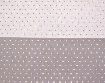 Japanese Cotton Linen Fabric - Dots and Dots on Solid Light Purple - Half Yard