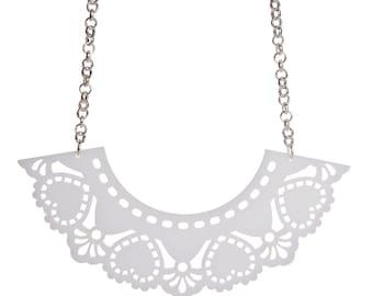 Doily necklace - laser cut acrylic