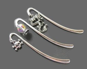 Charm Shepherd Hook Book Mark, Skull Bookmark, Dragon Bookmark or  Crystal Ball Bookmark