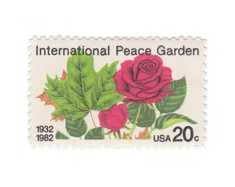 1982 20c International Peace Garden - 10 Unused Vintage Postage Stamps - Item No. 2014