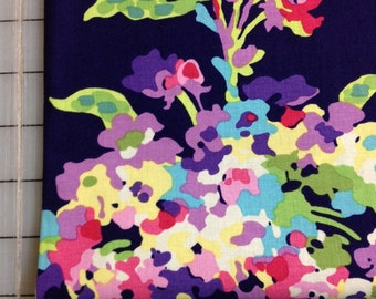 HALF YARD cut of Amy Butler Love - Water Bouquet in Midnight AB51- Very Dark Blue/Purple with water color flower bouquet
