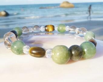 natural strength bracelet: tiger eye, smokey quartz, labradorite and jade.