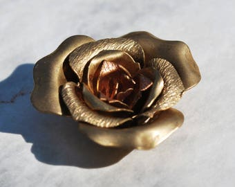 Vintage Brass Flattened Tea Rose Five Layers Riveted
