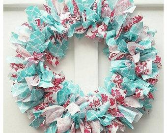 READY TO SHIP Pink and aqua wreath