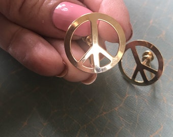 Vintage Peace Sign Earrings Screw backs