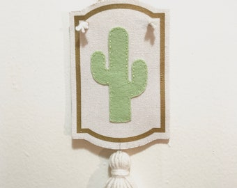 Felt cactus wall hanging with tassel