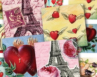 Vintage Valentines Two Digital Collage Sheets in One 7/8 Inch Squares Hearts Cherubs French for Scrabble Tiles Pendants & More piddix 840