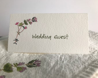 Thyme Flower, Tented Cards,Personalized Cards, Blank Seating Cards, Wedding Name Cards,  Botanical Seating, Seating Cards, Garden Party