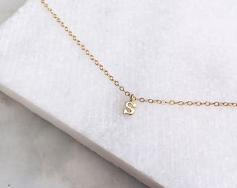 Gold Letter Necklace, Custom Initial, 14k Gold Fill, Name Necklace, Initial Necklace, Layered Necklace, Personalized Jewelry
