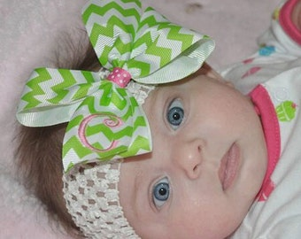 Monogrammed Initial, Headband Chevron, Hair Bow, Personalized Gift, Custom boutique, Spring Easter, Monogram Baby, Girls Lettering, Bow