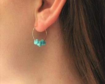 Genuine Turquoise Earrings, Boho Earrings, Turquoise Earrings 14kt Gold Filled Hoop Earrings, Turquoise Jewelry, Boho Jewelry