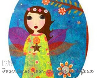 Cabochon glass 18 x 25 mm child drawing fairy wing Angel colorful 1825c501
