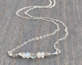 Gemstone Bar Necklace - Silver Layering Necklace - Moonstone Necklace - Silver Bar Necklace - Delicate Silver Necklace - Simple Necklace