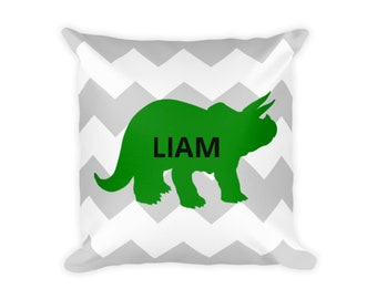 Personalized Pillow Dinosaur Pillow, Decorative Dinosaur Pillow,Dinosaur, Green Dinosaur, Blue Dinosaur, Chevron
