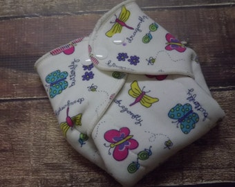 Organic Cotton Winged Prefold Cloth Diaper Dragonflies and Butterflies