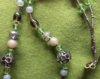 Green and Grey cut glass and beads