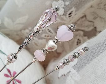 Victorian Antique Inspired Hat Pins Faceted Teardrop Crystal & Filigree Silver, Light Pink Beads, Quartz Heart, Scarf Pins. DISPLAY or USE!