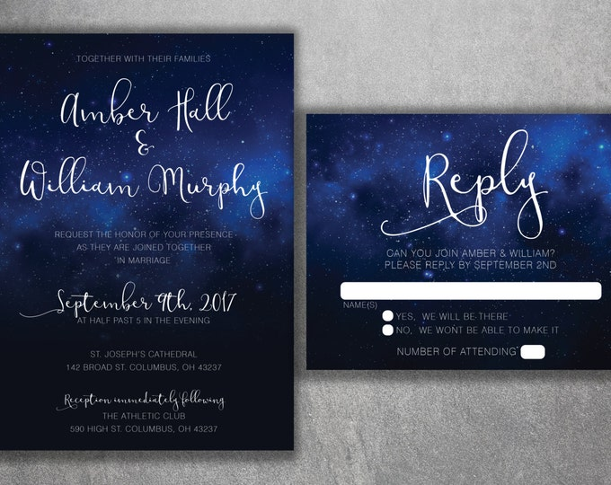 Stars Wedding Invitations Set Printed - Starry Night, Classy, Sky Wedding Invitations, Stars, Summer, Blue and White, Elegant, Dream,