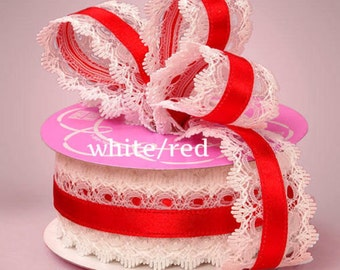 1 1/2 inch wide Lace Ribbon white/red  price for 1 yard