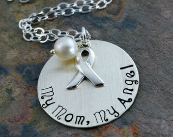 "My Mom, My Angel Necklace - 1"" Sterling Silver Stamped Disc, Awareness Ribbon Charm, White Fresh Water Pearl"