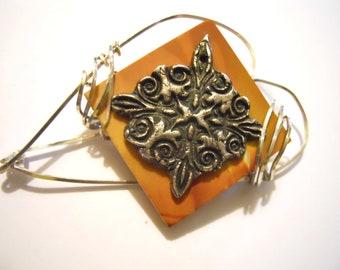 Fine Silver ACS Design on Jasper Wirewrapped into a Brooch/Pin