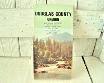 Vintage Oregon map Douglas County Southern folded highways roads cities 1979- free shipping US