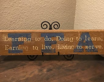 Reclaimed Wood Wall Sign - FFA Motto