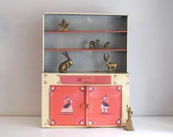 Tin Toy Hutch, Vintage Kitchen Cupboard, Miniature Metal Pantry, 1960s Ideal Toy Hoosier Cabinet, Pennsylvania Dutch Amish, Doll Furniture