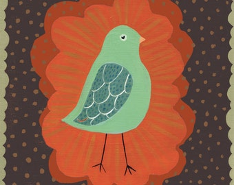 Little Mint Green Bird Art Print - on brown