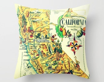 California Map Pillow Cover, Unique California Pillow, California Gifts, California Home Gifts, CA State Map Pillow California Throw Pillow