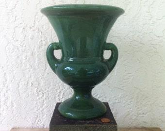 McCoy Vase, Green Glaze, Two Handles, BIG Impressive Pottery, Glossy Green Two-Arm Vase, Vintage Art Pottery