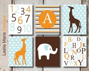 Nursery Wall Art, Nursery Prints, Alphabet Art, Number Art, Elephant Prints, Elephant Decor, Giraffe Print