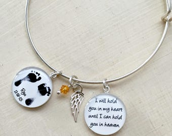 Mother's Bracelet, Memorial Jewelry, Personalized Baby Footprint Jewelry, Sympathy, Infant Loss Jewelry