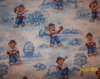 "Blue Jean Teddy ""Batter Up Toile"" 100% Cotton Fabric #11"