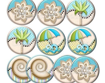Set of 10 cabochons 16mm glass, beach vacation, ref ZC131