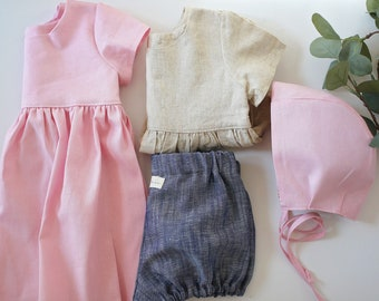Linen Baby Set, Capsule Starter Set, Linen Baby clothes, Linen Bonnet, Linen Blouse, Linen Bloomers, Linen Dress, Linen Childrens Clothing