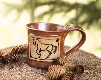 Piaffe, dressage horse mug, rust
