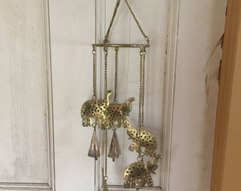 Vintage brass elephant wind chimes