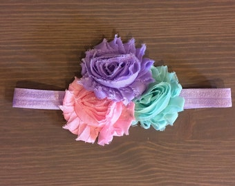 Baby Girl Headbands, Shabby Flower Headbands, Toddler Headband, Mint and Purple Headband, Pink Headband, Birthday Headbands, Newborn